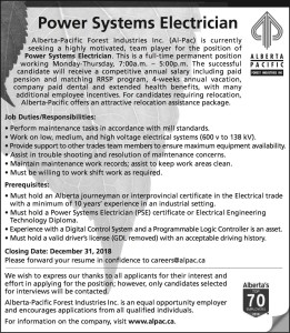 Power Systems Electrician Wanted