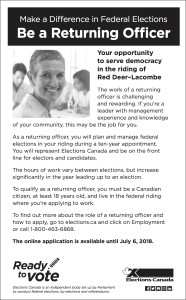 Make A Difference In Federal Elections, Be A Returning Officer